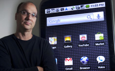 Google's Andy Rubin, who heads up the company's Android effort, with a display model of the phone at the company's Mountain View headquarters Tuesday May 25, 2010.  (Photo by Patrick Tehan/Mercury News)