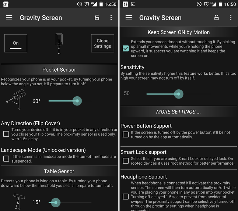 Android vs ios gravity screen